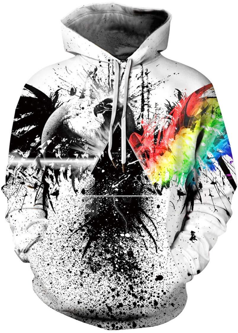 Bettydom Unisex 3D Printed Hoodies Drawstring Hooded Front Pocket Cool Long Sleeve Loose Fit Sweatshirts Hoodies