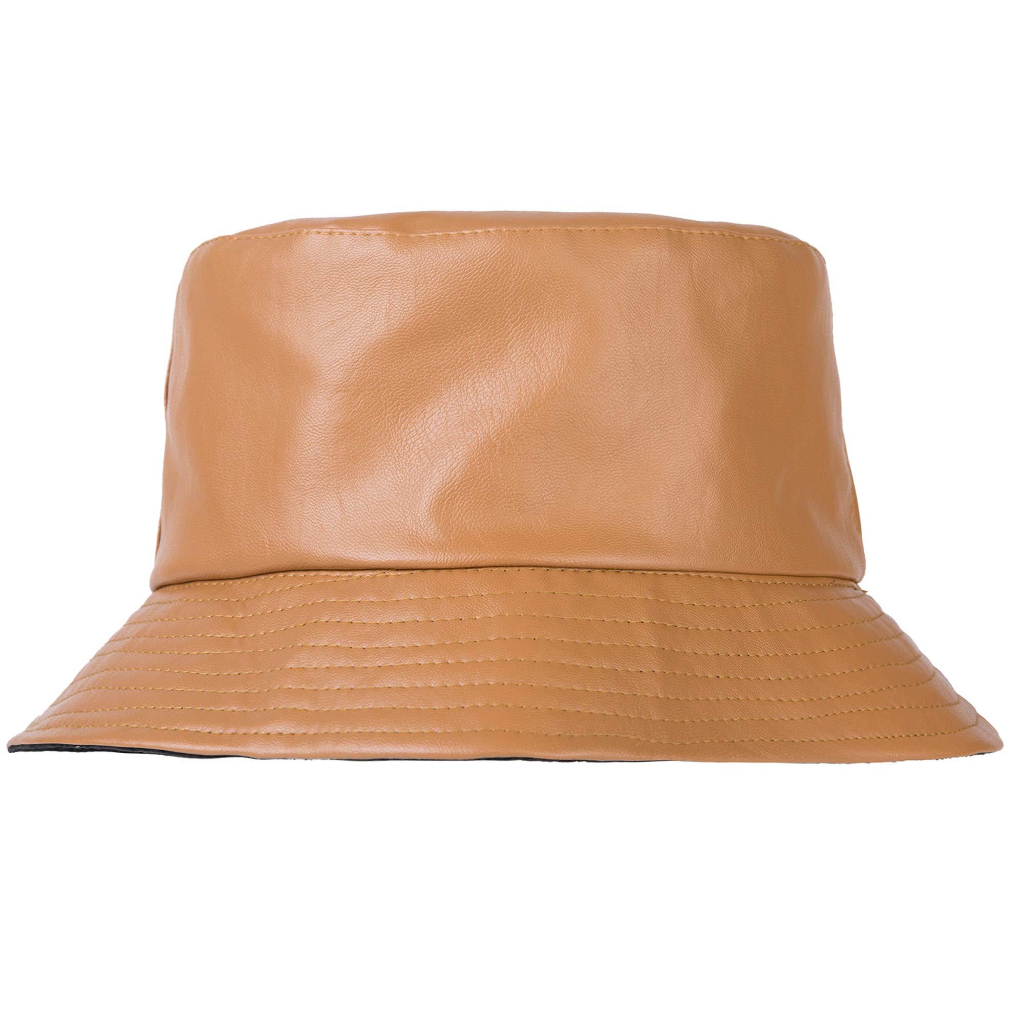 ZLYC Unisex Fashion Bucket Hat PU Leather Rain Hat Waterproof (Orange) by ZLYC