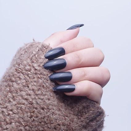 24pcs 12 diferentes tamaño noche negro Color sólido simple Stiletto Media funda de Full diseño de