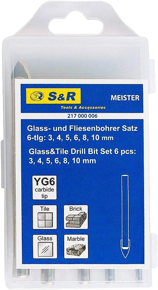 6//10 x Glasbohrer Fliesenbohrer Keramikbohrer 3-10 mm Bohrer für Glas Keramik
