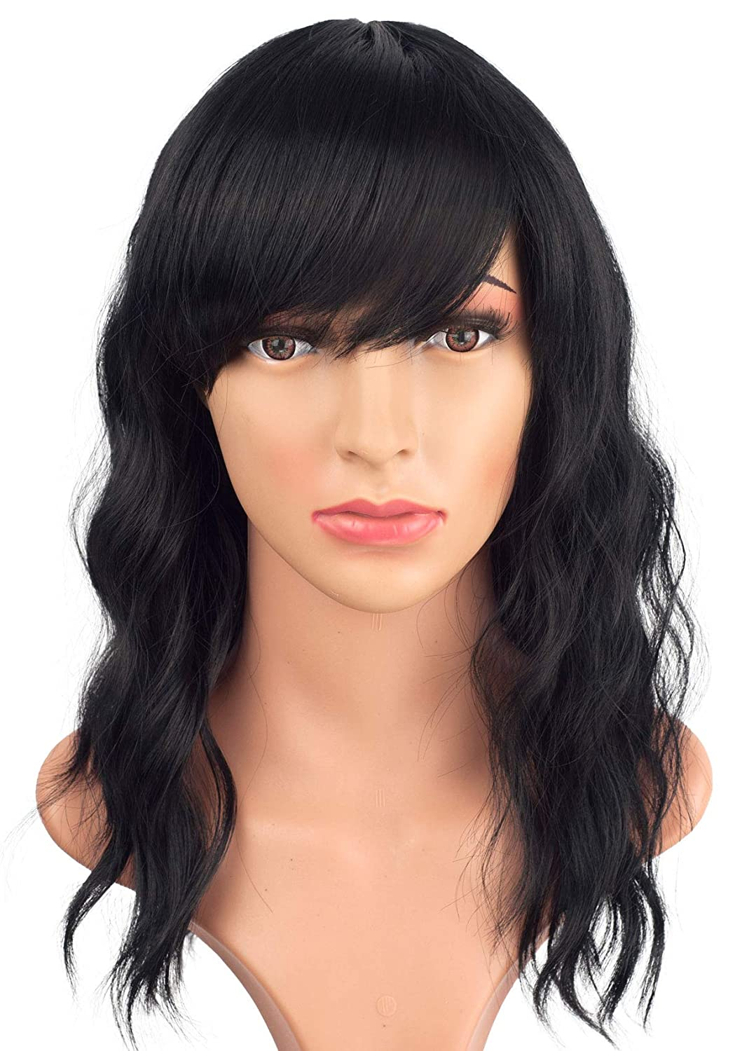 Medium Long Black Wavy Wigs For Women Synthetic Full Hair Natural Black Wigs With Side Bangs For