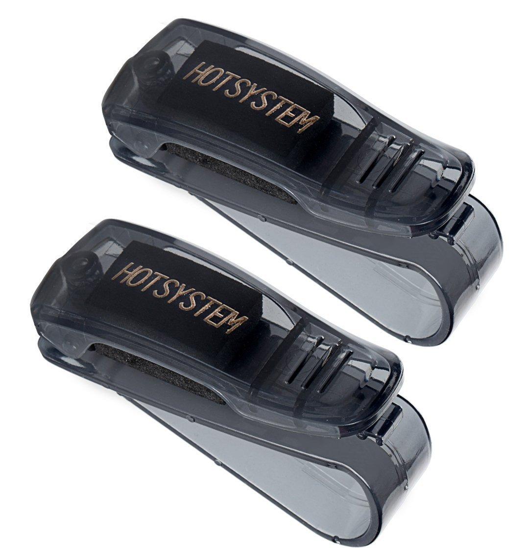 HOTSYSTEM Car Visor Glasses Holder Sunglasses Clip for Auto Truck Black 2-pack