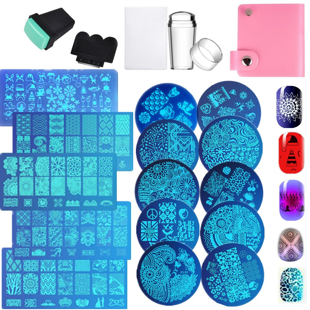Nail Art Image Stamp Stamping Templates Stamper Scraper Kit 15 Manicure Plates Set with 2 Stamper 2 Scraper 1 Nail Plate Storage Bag Organizer LiBiuty