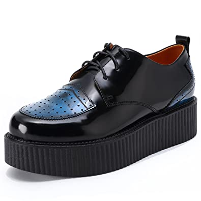 6c6367a5ee2909 RoseG Herren Leder Schnürsenkel Plateauschuhe Platform Creeper Schuhe  Schwarz Size 37