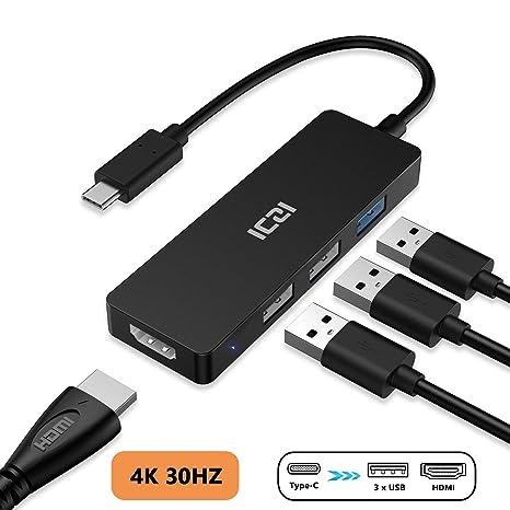 ICZI Hub USB C HDMI 4 en 1, Adaptador USB Tipo C a HDMI + 3 Puertos USB para Dispositivos USB-C con DP ALT Modo, Super Fino y Ligero