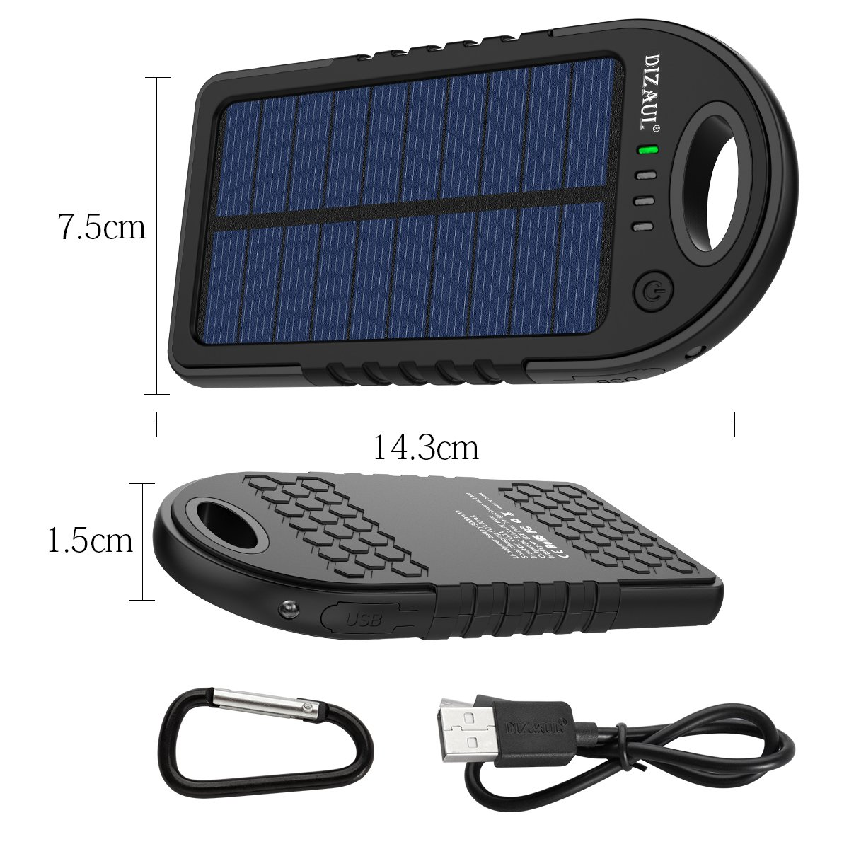 Solar Charger, Dizaul 5000mAh Portable Solar Power Bank Waterproof/Shockproof/Dustproof Dual USB Battery Bank for Cell Phone, Samsung, Android Phones, Windows Phones, GoPro Camera, GPS and More by dizauL (Image #6)