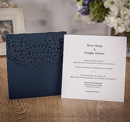 Amazon 50x wishmade blue laser cut invitation card kits square 50x wishmade blue laser cut invitation card kits square invitation tri fold for wedding invitation stopboris Gallery