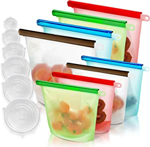 GREENSTO 14 Multipack Reusable Silicone Food Storage Bags (4 Large + 4 Medium Silicone Bags & 6 Bowl Lids) Reusable Food Bags - Snack Ziplock Silicone Bag - Reusable Sandwich Bags - Silicone Food Bags