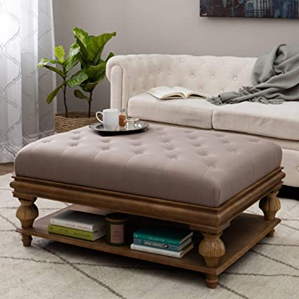 Remarkable Amazon Com Storage Ottoman In A Taupe Tufted Fabric Caraccident5 Cool Chair Designs And Ideas Caraccident5Info
