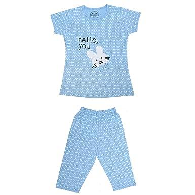 ac72bdbaee0 Babydoll Baby Girls Super Soft Cotton Hosiery Top and Pajama Night Suit  Capri Set Short Sleeve Shirt Cute Print Age 4 Year ...
