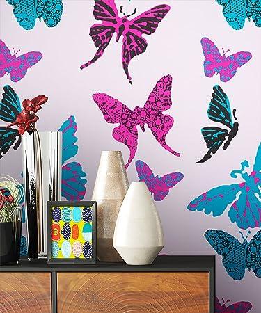 Newroom Kindertapete Rosa Schmetterlinge Kinder Papiertapete Lila