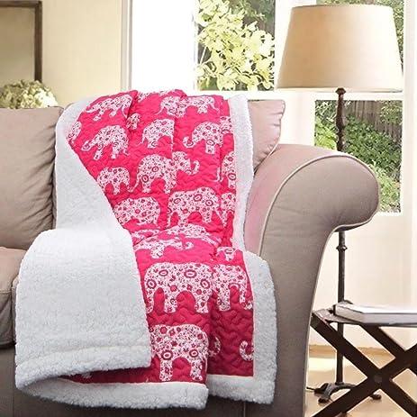 Amazon.com: 1pc 50 X 60 Pink Elephant Parade Throw Blanket Kids ...