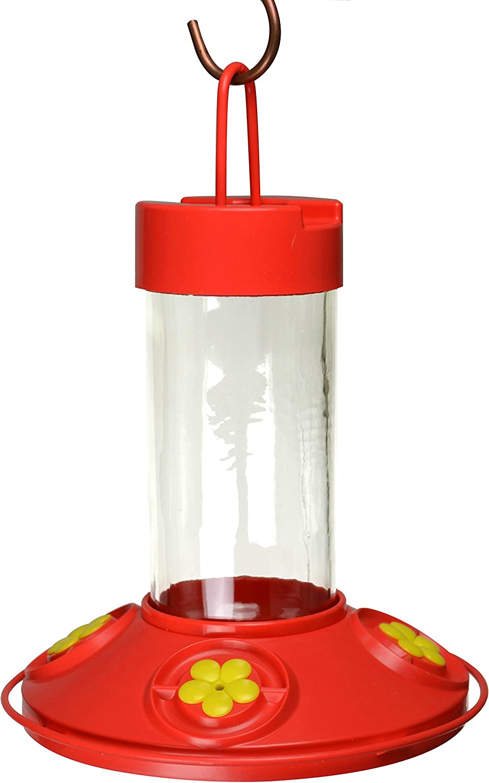 Songbird Essentials Dr JB's 16 oz Clean Feeder All Red Feeder w/ Yellow Flowers