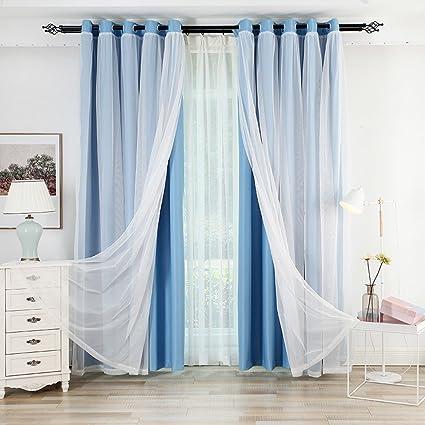 Bianco Filo + hochpraezises tessuto doppia tenda camera da letto ...