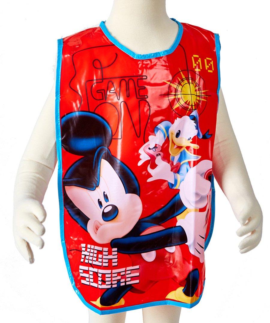 Tablier de peinture ou Bavoir plastique enfant Mickey et Donald Rouge TU (2-5 ans)