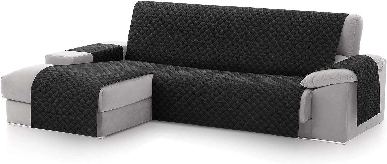 textil-home Funda Cubre Sofá Chaise Longue Malu, Protector para Sofás Acolchado Brazo Izquierdo. Tamaño -240cm. Color Negro (Visto DE Frente)