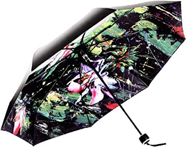 Compact Travel Umbrella with Windproof Double Canopy Construction - Sturdy, Portable and Lightweight for Easy Carrying - Auto Open Close Button for One Handed Operation