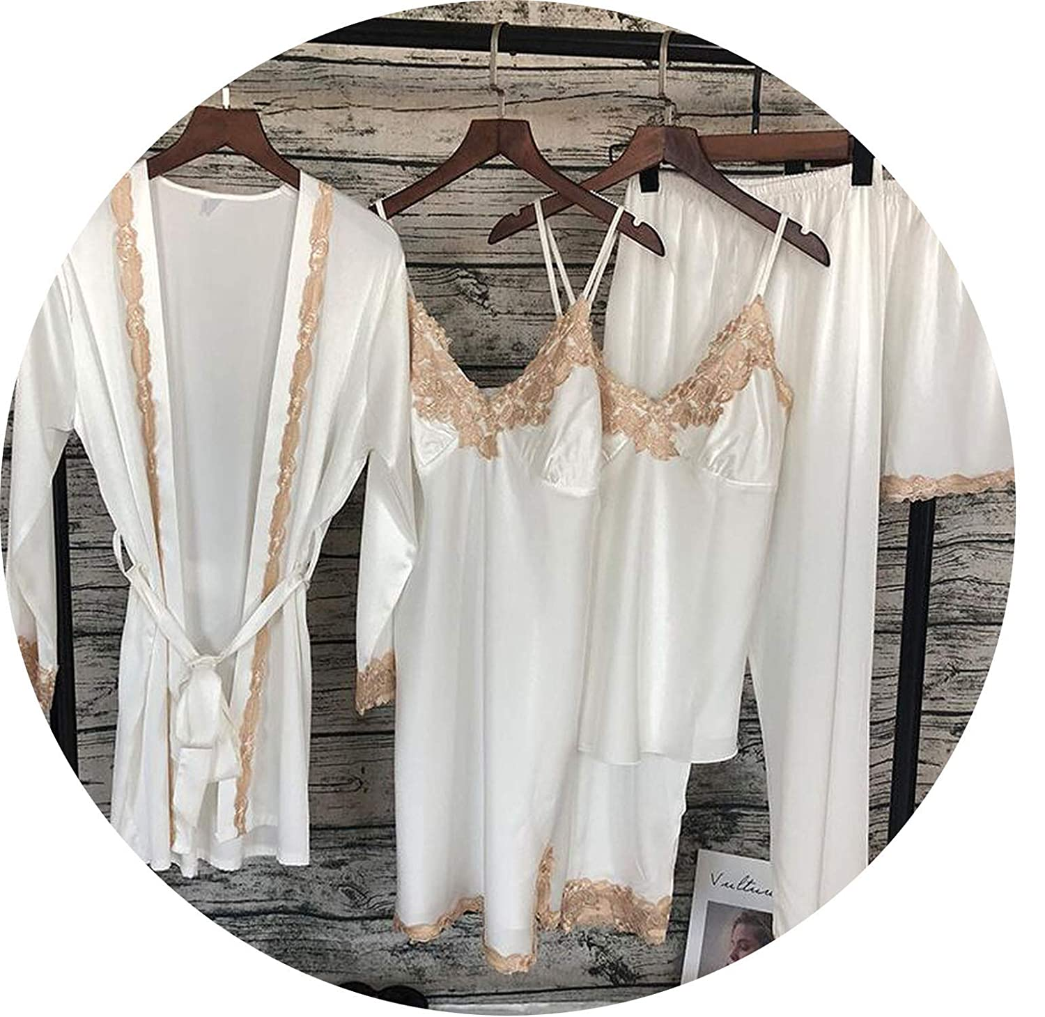 White Lucky Shop Women's Sleepwear 5 Pieces Sexy Lace Sleepwear Pajama Silk Night Pajama Suit