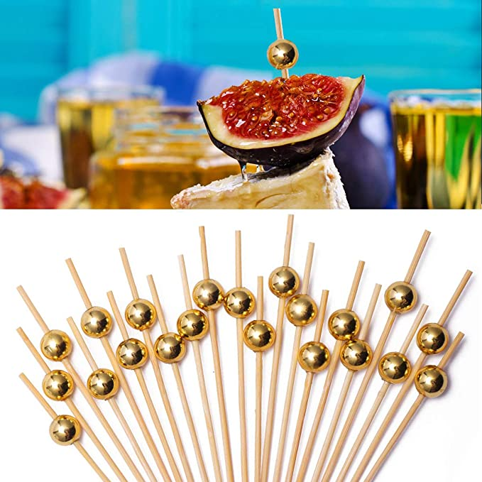 350 WOODEN BAMBOO STICKS Toothpicks Parties Buffets Food Cocktail Olive Dental