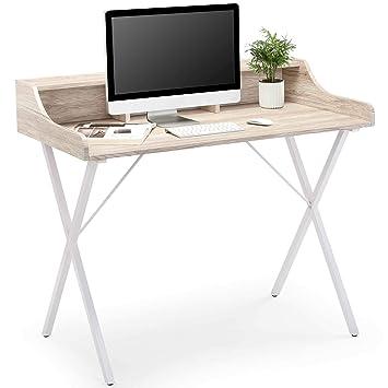 Pleasant Vonhaus Study Desk White Modern Style Desk Workstation With Stationery Storage Home Office Furniture Interior Design Ideas Tzicisoteloinfo