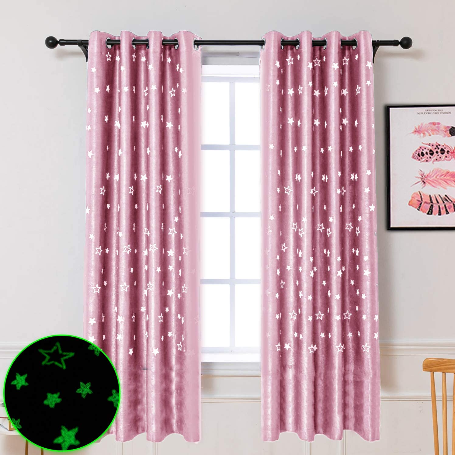 Hughapy Grow in The Dark Star Curtains Twinkle Stars Blackout Curtains for Kid s Bedroom – Grommet Thermal Insulated Room Darkening Window Curtains, Set of 2 Panels 52 x 84 Inch,Pink
