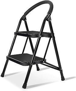 Lightweight 2 Step Ladder Steel Folding Anti-Slip Pedal 330lbs Capacity Ladder for Kitchen (Renewed)
