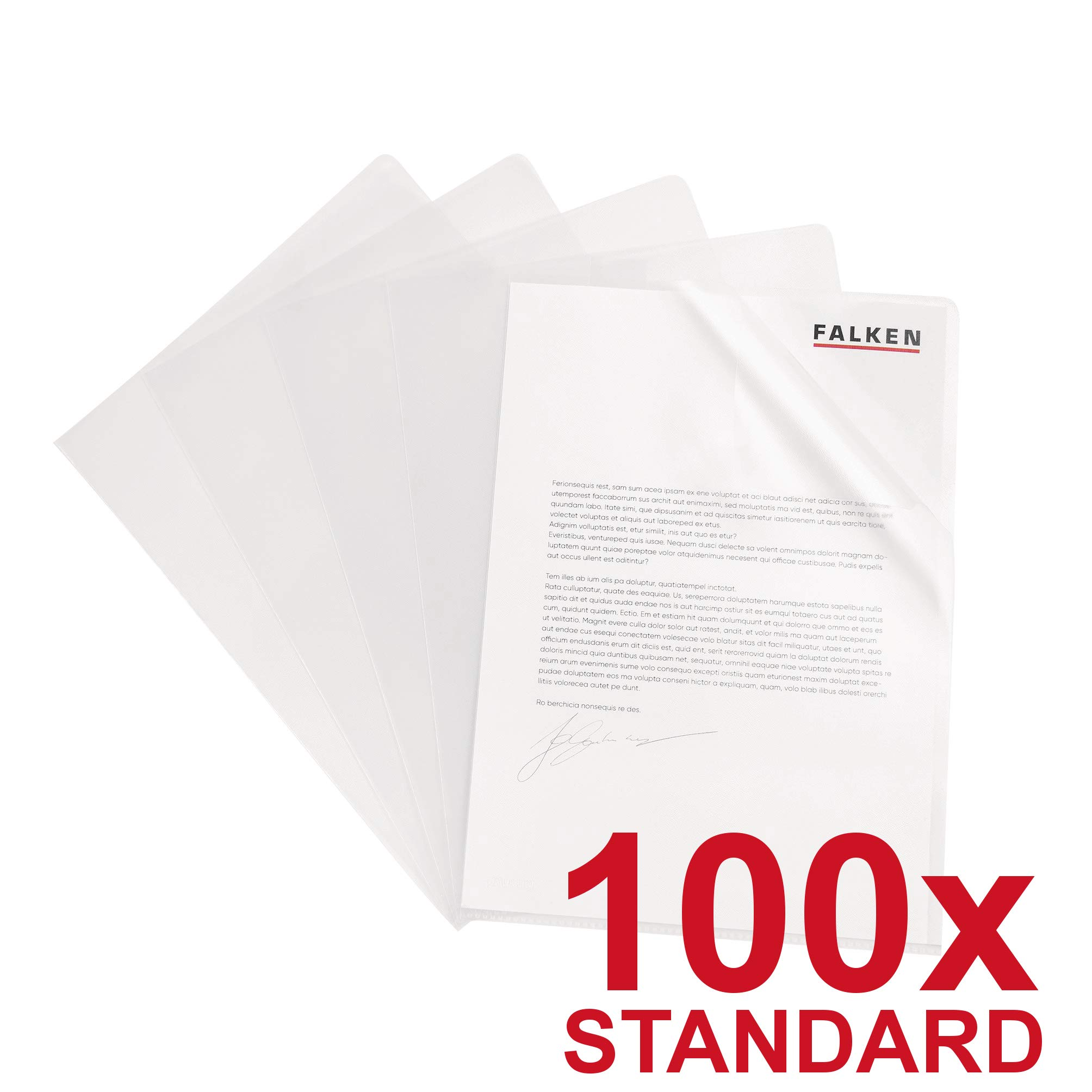 Falken Document Covers, Transparent Standard - Crystal-Clear (100 Items) DIN A4 Transparent by FALKEN