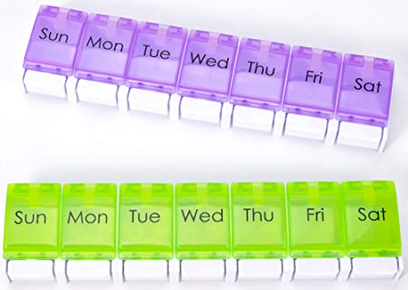 Daily Pill Organizer 2 Times a Day with Easy Push Button, Weekly Pill Box 7 Day with Large Compartment Pill Box and Organizer 2 Pack