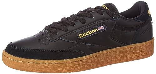 76ea53d519c Reebok Classics Men s Club C 85 Tdg Black and Retro Yellow-Gum Leather  Tennis Shoes