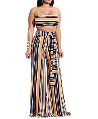 1d79bd779e Womens Two-Piece Sexy Rainbow Striped Bandeau Top High Waist Wide Leg Pants  Set Jumpsuit
