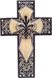 Wowser Black and White Hanging Wall Cross, Silver Tone Fleur De Lis Floral Design, Christian Wall Decor, 12.3 Inch