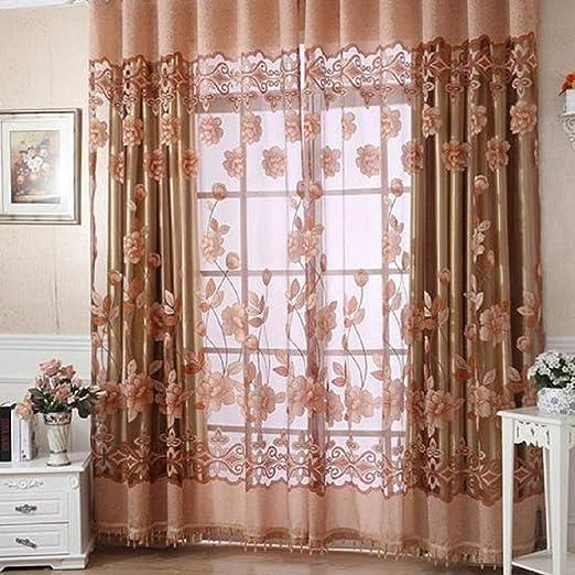 Display08 Cortina de gasa con dise/ño de flores impresas en tul para decoraci/ón de puertas y ventanas poli/éster Coffee 1m By 2m 1m by 2m