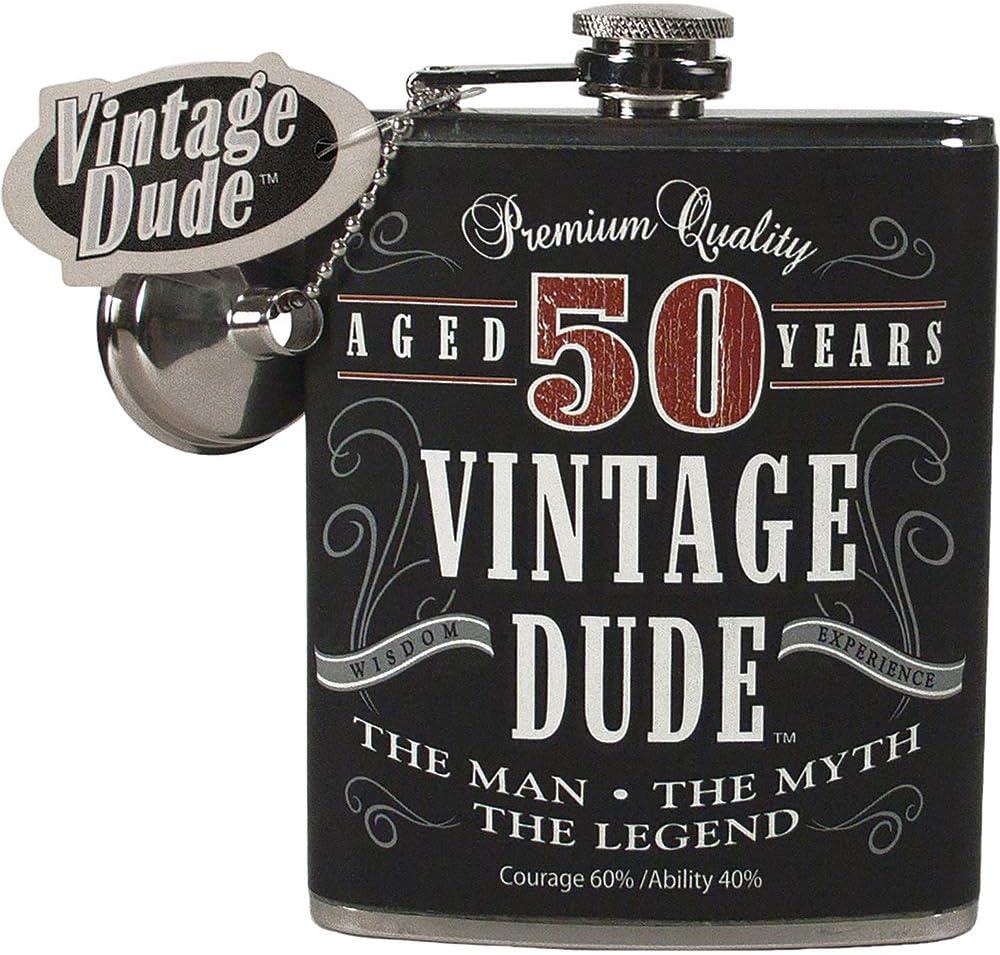 """パックの4ブラックandホワイト"""" 50 YearsヴィンテージDude」プリントフラスコ7オンス"""