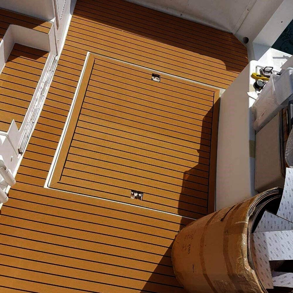 240 17 mm TiooDre Tappetino in Legno Finto Eva Ant-Moisture Antiscivolo Moquette Anti-UV Resistente alla Corrosione Finto Rivestimento in Teak Tappetino Decorativo per Yacht RV Barche Kayaks