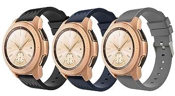 TiMOVO Pulsera para Samsung Galaxy Watch 42mm/Galaxy Watch Active/Gear Sport, [3-Pack] Correa de Reloj Deportivo, Banda de Reloj de Silicona - Negro & ...