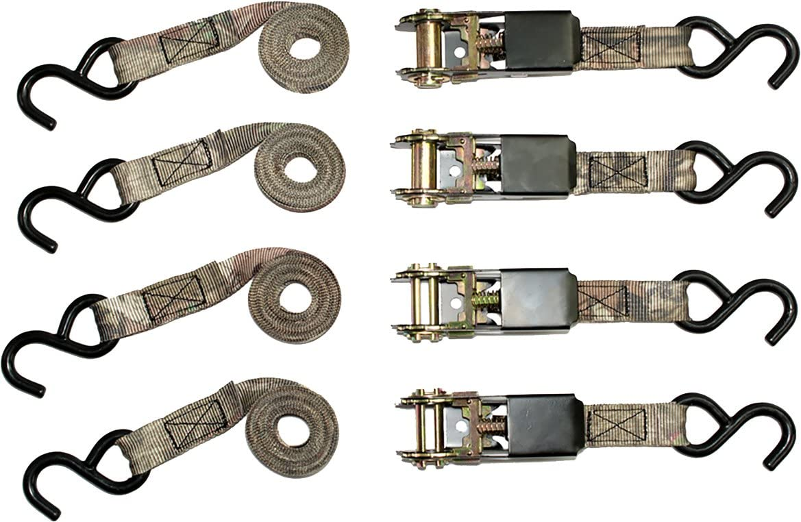 """RPS Outdoors SI-2067 Mossy Oak Break-Up Infinity Camo 1"""" x 8' Ratchet Tie Down Straps (900 lb Tension Strength), 4 Pack"""