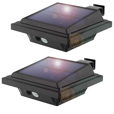 Solar Motion Sensor Lights Outdoor, 25 LEDs Solar Gutter Lights, 2W, PIR-Sensor, No Dim Model, Wireless Security Night Lights for Garden, Black, Warm White Light(2 Packs)