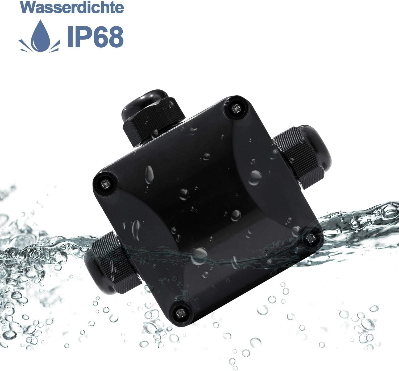 BMOT 2 St/ücke Abzweigdose Wasserdichte IP68 Klemmdose 3 Wege Au/ßen Elektrische Anschlussdose Verbindungsdose Dosenmuffe Erdkabel Kabelverbinder 230V