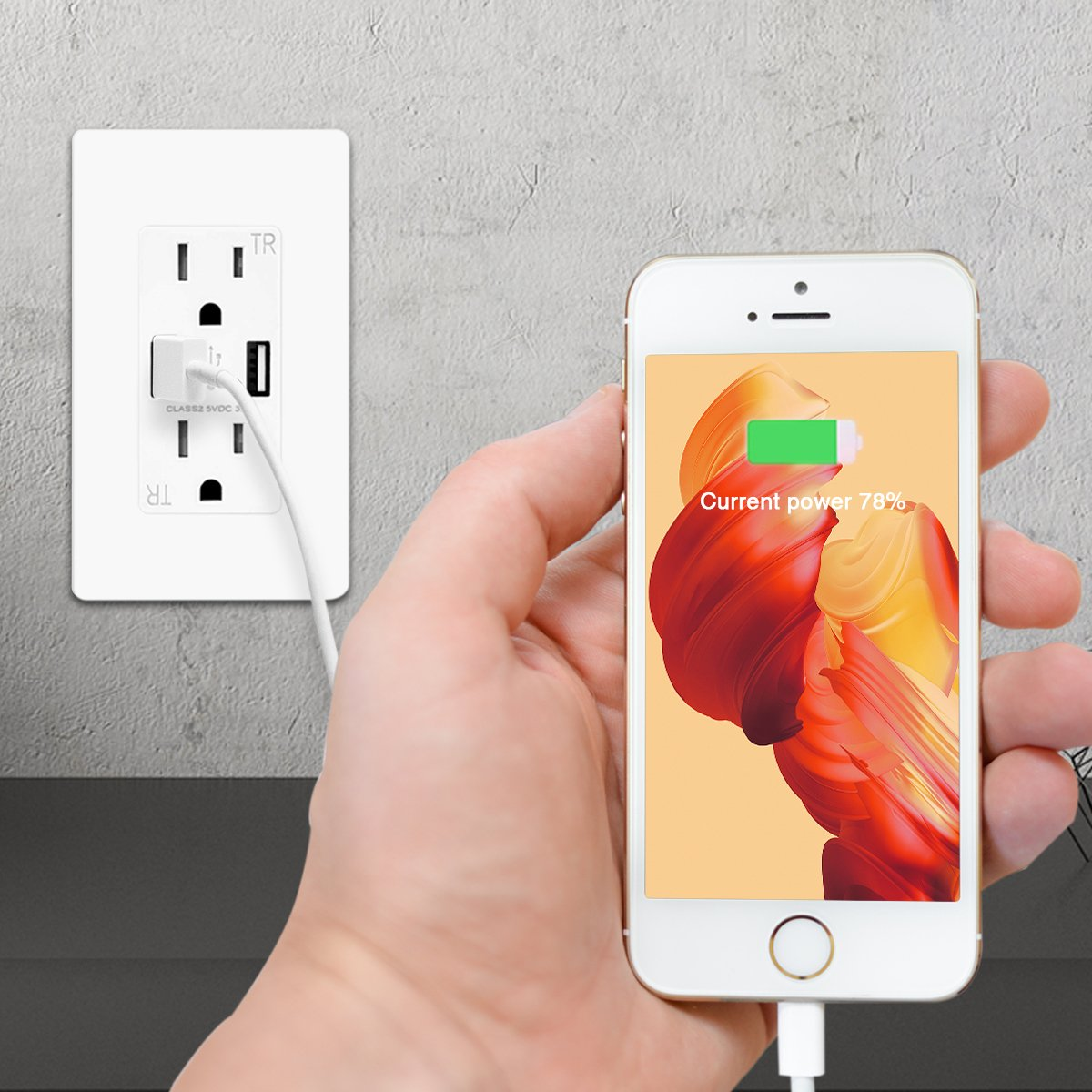 TOPELE Smart Fast Charger USB Outlet, Duplex Dual USB Wall Outlet with 15Amp 110V/120V Tamper-Resistant Electric Receptacle, Childproof USB Outlet Plug, UL Listed, White by TOPELE (Image #5)