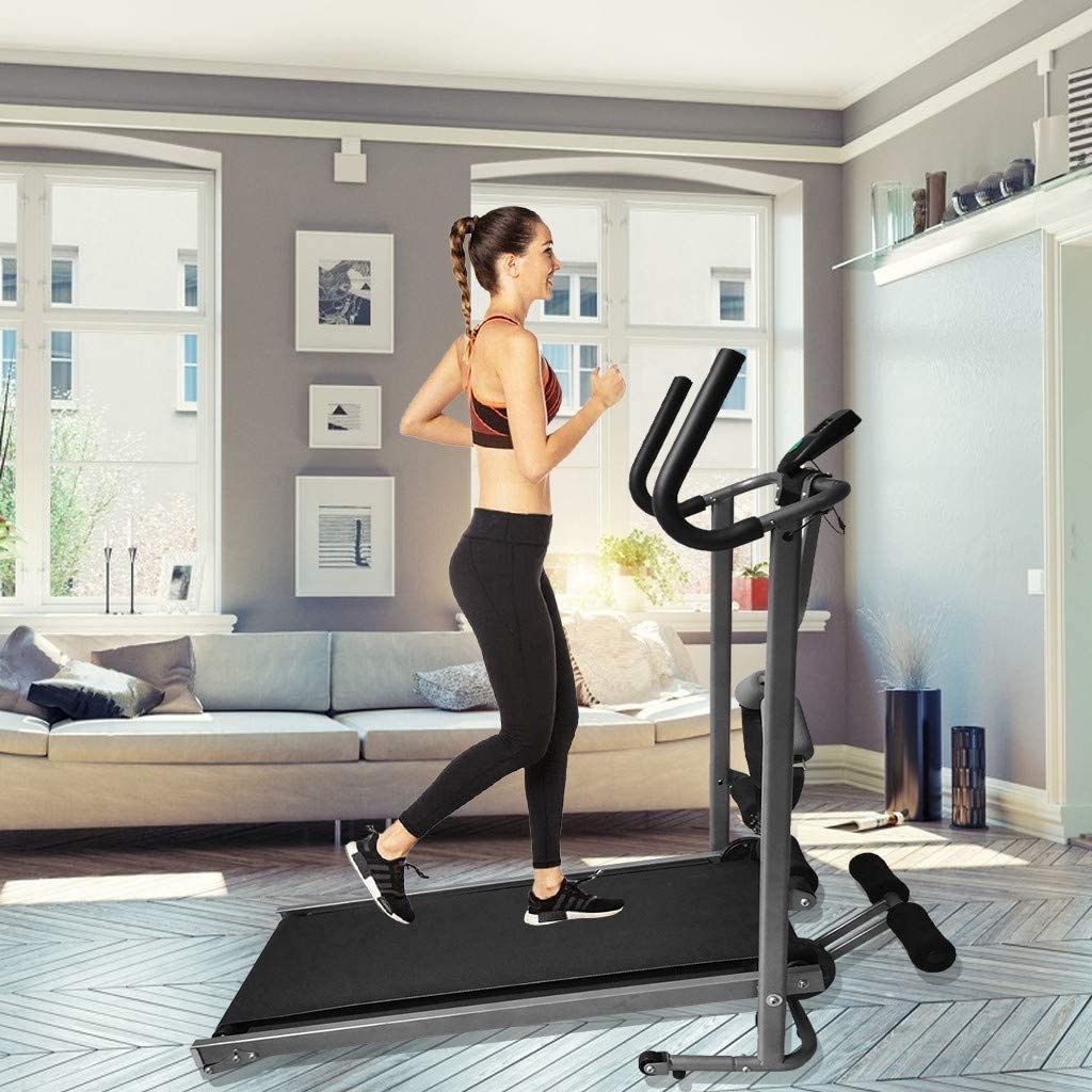White Motorized Portable Pad Treadmills with Wooden Board Bracket Running Machine Hooseng Electric Folding Treadmill Suitable for Walking Jogging Running Exercise Fitness Machine