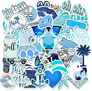 Cute Blue Stickers Pack (50pcs) VSCO Stickers for Laptop and Water Bottles - Sticker Decals for Laptop Luggage Car Skateboard Motorcycle, Bicycle Hydro Flask (GilbertVillageGoods)