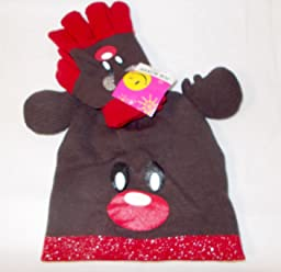 Rudolph Red Nose Reindeer Stocking Christmas Hat Gloves Knit NWT