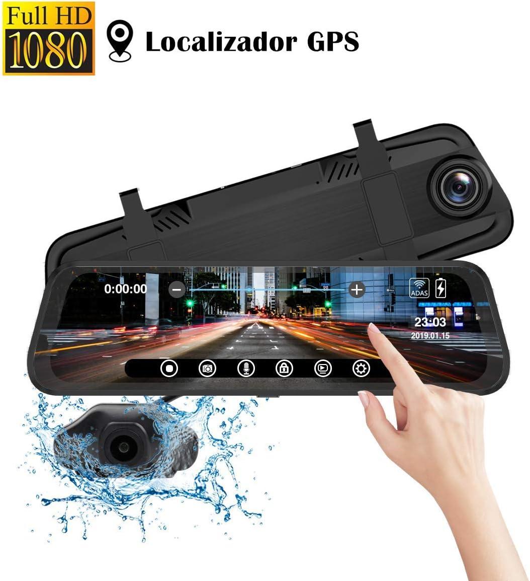 Camara Marcha Atras Coche con Retrovisor de Táctil de 9.66 pulgadas Iseebiz Dual Camara Coche Delantera y Trasera 1080p Full-HD con Localizador GPS/ADAS/G-Sensor/Grabación de Bucle