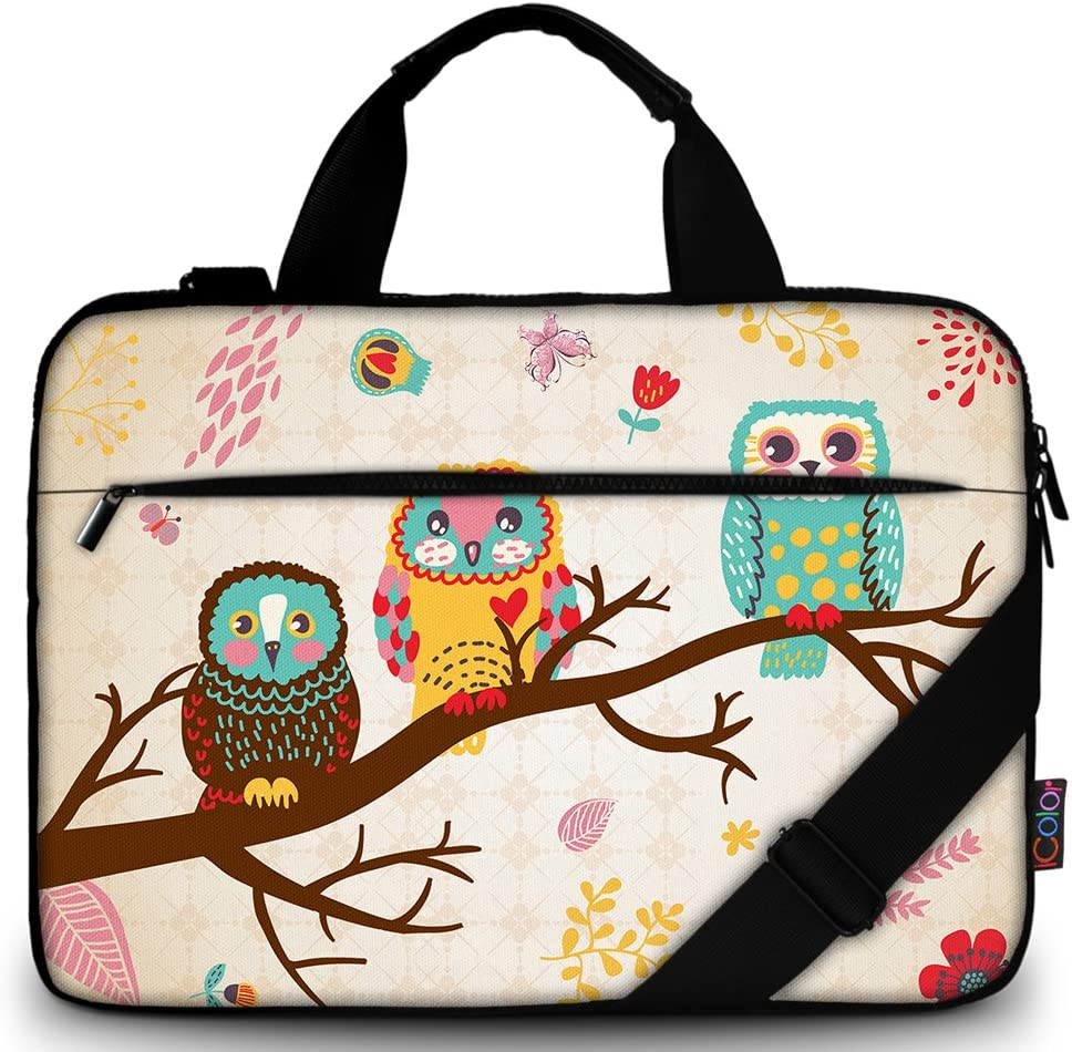 "iColor 11.6-12 13 13.3-inch Laptop Shoulder-Bag - Canvas Computer Tablet Carrying Case 13-13.3 inch Notebook Briefcase (12"" ~13.3"", Owl)"