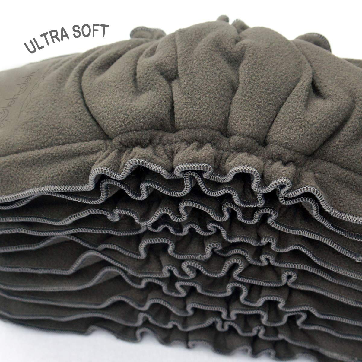One Size Fits All Oleh-Oleh 10 Pack Premium Charcoal Bamboo Cloth Diaper Reusable Liners with Gussets 5-Layer Inserts Soft Washable for Pocket Diapers Brown