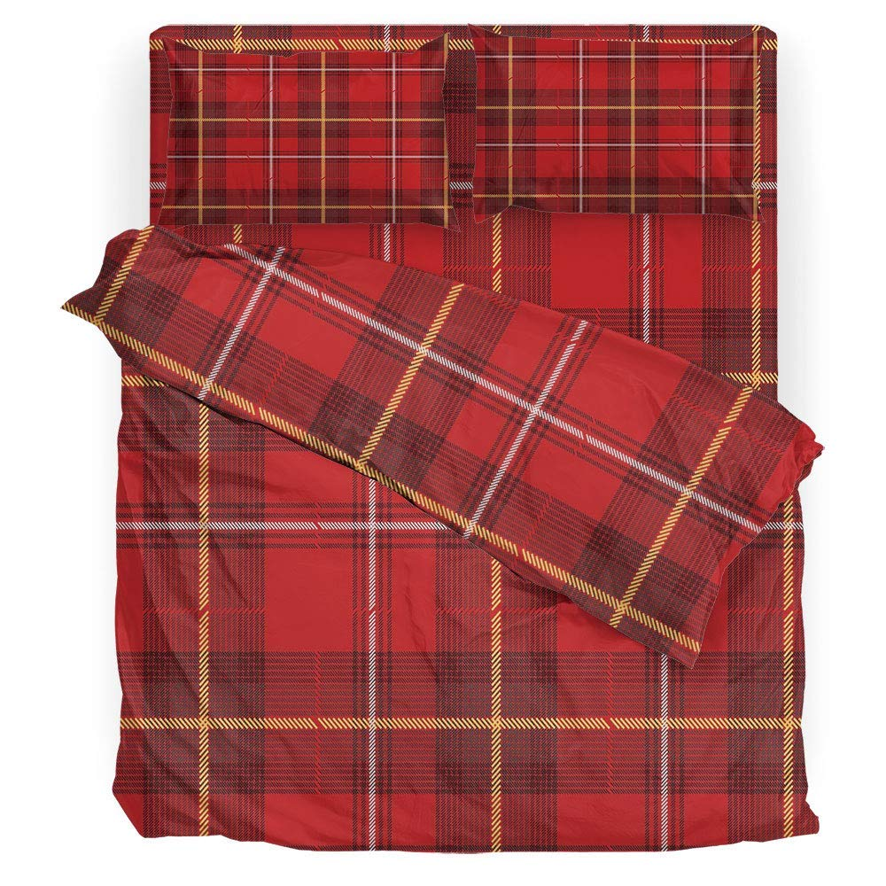 SINOVAL 3D Print Duvet Cover Set,Red Plaid,Printed Microfiber Reversible Design(Extra Long Twin)