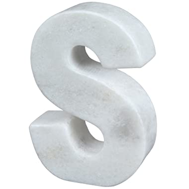 Creative Home Natural Marble Stone Letter S Bookend, Paper Weight, 4  W x 5-7/8  H, 1-1/2  D, Off- Off-White (Patterns May Very)