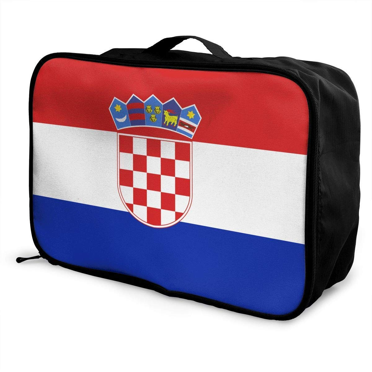 JTRVW Luggage Bags for Travel Portable Luggage Duffel Bag Croatia Flag Travel Bags Carry-on in Trolley Handle
