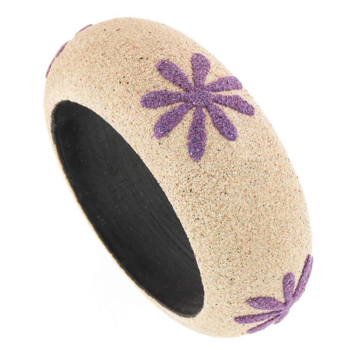 Cool 1 1//8 Wide Creamy White Purple Sand Over Wood Bangle Bracelet YE-2329