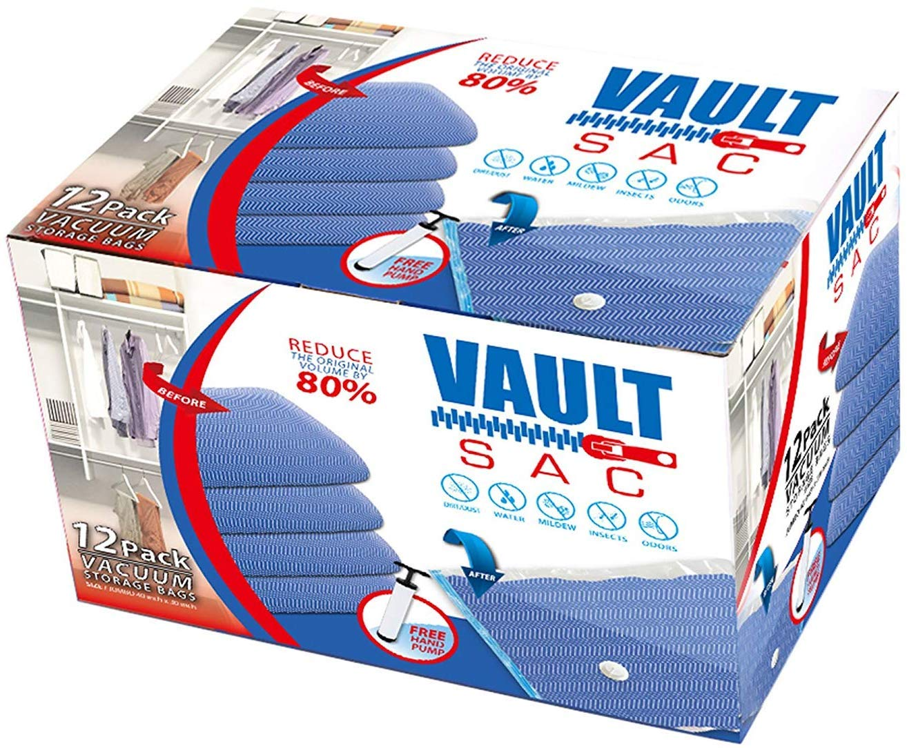 Vacuum Storage Bags | 12 PACK JUMBO Size | 12 x Jumbo Size 40 Inch x 30 Inch Bags | 80% MORE STORAGE for Clothes Blankets Duvets & Much More | Works with Any Vacuum Cleaner FREE Hand-Pump For Travel